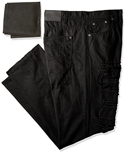 Southpole Men's Big and Tall Twill Pants Long Destructed Ripped and Repaired in Solid Colors, Black, 46 (Big Men Casual Pants compare prices)