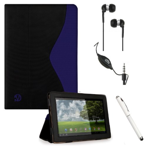 Padfolio Smart Cover Stand Alone Case, Best Seller Durable Premium Design For Asus Transformer Pad Infinity Tf700T, Tf300T, Tf300Tg, Tf300Tl Android 10.1-Inch Tablet + Crystal Clear High Quality Hd Noise Filter Ear Buds Earphones Headphones With Mic ( 3.5