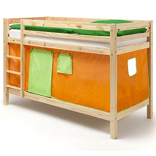 Lits superposés en pin vernis naturel MAX avec rideaux orange/vert