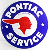 "Pontiac Service 24"" Extra Large Metal Sign Blue"