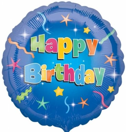 Anagram International Hx Happy Birthday Stars Balloon, Multicolor - 1