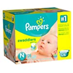 Pampers Swaddlers Diapers, Size N, Gi...