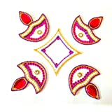 Store Utsav Marble Rangoli On Translucent Plastic Base White Diyas With Red Flames And A Square Center