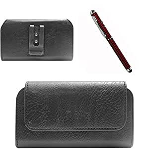 DMG Premium PU Leather Cell Phone Pouch Carrying Case with Belt Clip Holster for Sony Xperia E3 (Black) + 4in1 Laser Torch Stylus Pen