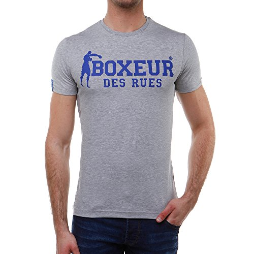 Boxeur Des Rues Série Exclusive T-shirt con Stampa sul Dietro e sul Davanti, Grey Mel, L