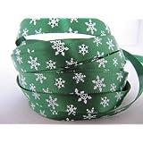 10mm Christmas Satin Ribbon - Green with White Snowflake - 5 Yards