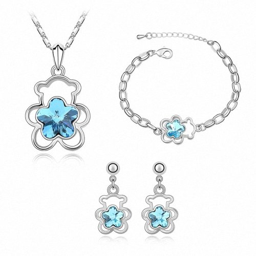 TAOTAOHAS- [ Search Name: Teddy Bear ] (1PC) Crystallized Swarovski Elements Austria Crystal Necklace Set (Necklace Bracelet Earring Set), Made of Alloy Plated with 18K True Platinum / White Gold and Czech Rhinestone