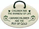 Children are the rainbow of life. Grandchildren are the pot of gold. Ceramic wall plaques handmade for over 30 years in the USA. Overstock price.