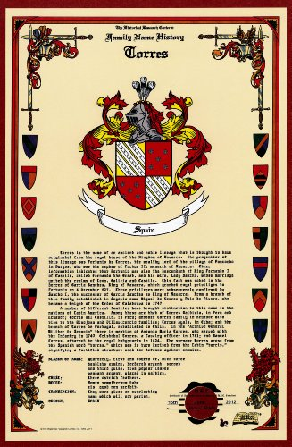 Torres Coat Of Arms/Crest And Family Name History, Meaning & Origin Plus Genealogy/Family Tree Research Aid To Help Find Clues To Ancestry, Roots, Namesakes And Ancestors Plus Many Other Surnames At The Historical Research Center Store front-275335