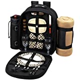 Picnic Backpack Cooler w/ Blanket For Two (Black)