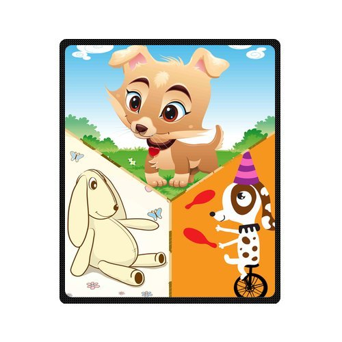 "Personalized Cute Dogs Jigsaw Blanket 50""X 60""(Medium) front-763110"
