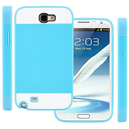 CellJoy Samsung Galaxy Note II Note 2 Case Protective [Vivid Hybrid] Slim Fit Dual Protection Cover Bumper [Retail Packaged] (Teal / White) (Note 2 Case White compare prices)