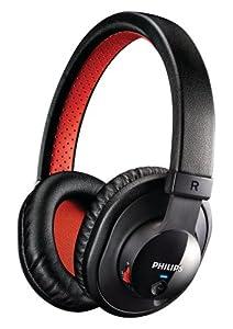 Philips SHB7000/10 Bluetooth Stereo Headset (1,2 m Kabellänge)) schwarz/rot