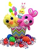 Farm Animal Toy Easter Basket with Cadbury Egg Chocolates and Lollipop Candy