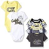 Calvin Klein Baby Girls' 5 Pack Assorted Bodysuits, Yellow/Dark Gray, 6/9 Months