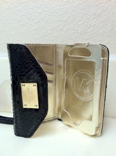 Luxury Designer Mk Iphone Case Wristlet Cover Wallet Pouch Handbag Purse Wallet Clutch For Apple Iphone 4 4S In Black Patent Python-Embossed Leather