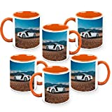 HomeSoGood The Exact Replica Of Automobile White Ceramic Coffee Mug - 325 ml (Set Of 6)