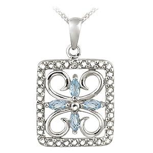 Sterling Silver Blue Topaz & Diamond Accent Filigree Flower Design Necklace