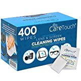 Care Touch Lens Cleaning Wipes, Pre Moistened Cleansing Cloths Great for Eyeglasses, Tablets, Camera Lenses, Screens, Keyboards and Other Delicate Surfaces (400 Lens Wipes)