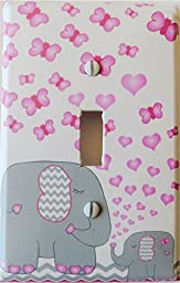 Elephant Light Switch Plate Covers / Single Toggle / Elephants with Grey and Pink Chevron Switch Plates with Pink Butterflies and Hearts