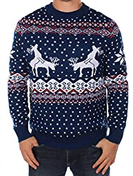 Men\'s Ugly Christmas Sweater - Reindeer Climax Tacky Christmas Sweater Blue Size XL