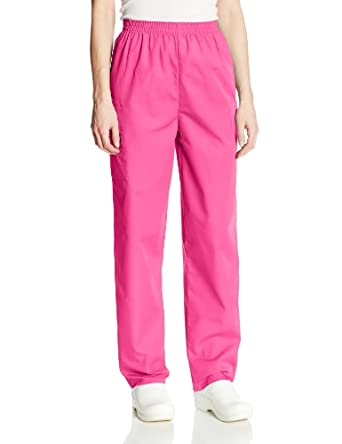 Cherokee Women's Petite Workwear Scrubs Pull-On Cargo Pant, Shocking Pink, X-Small-Petite
