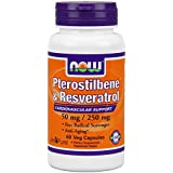 Now Foods Pterostilbene and Resveratrol 50 mg, 250 mg, Veg Capsules, 60 Count