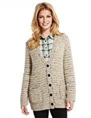 Indigo Collection Bumble Boyfriend Cardigan with Wool