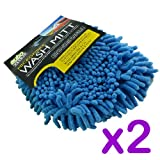 Pack of 2 - High Performance Blue Micro-Fiber Car Wash Mitt - Glove Type - For Valeting, Waxing and Polishing