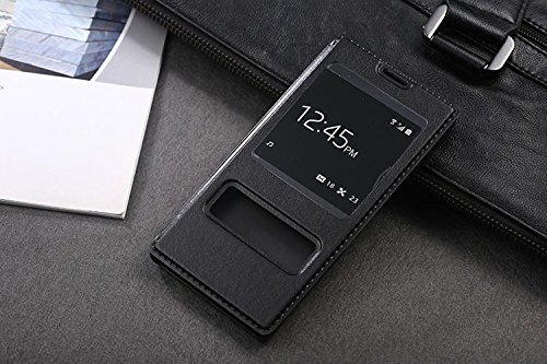 Luxury Full Body Flip Pu Leather Case S View Stand Phone Cover For Sony Xperia Z3 5.2Inch (Black)