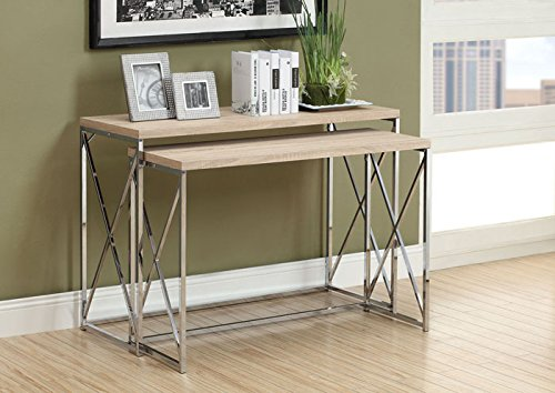 NATURAL RECLAIMED-LOOK / CHROME METAL 2PCS CONSOLE TABLES (SIZE: 46L X 18W X 32H)