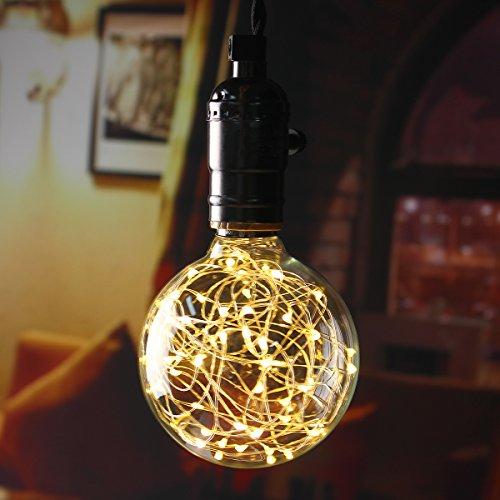 KINGSO G95 Vintage Edison Bulb,E27 Base 3W 300LM Antique Filament Globe Spiral Design LED Lights for Christmas Home Party Cafes Bars Decoration Warm White 4