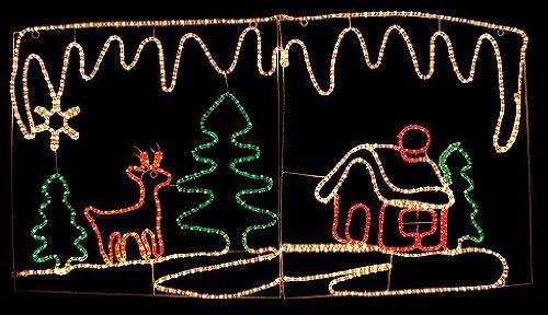 クリスマス イルミネーション トナカイ&ハウス 壁掛け クリスマス イルミ ピクチャーモチーフ 2D