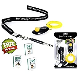 ONE DAY SALE - Dog Whistle to Stop Barking & Loud Pet Training Clicker Kit - Safe, Fast & Silent Dog Bark Control tools -FREE Lanyard & 3 Dog Training E-books - Ultrasonic Adjustable Pitch | Pet\'s Mum