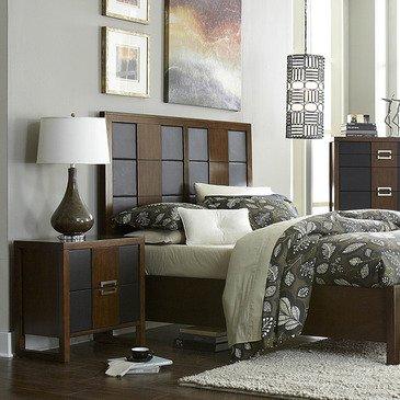 Homelegance Zeigler 2 Piece Platform Bedroom Set w/ Storage Footboard in Brown Cherry
