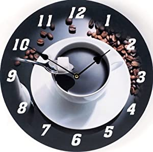 Wall Clock Design Espresso Round Shape Kitchen Clock New