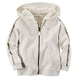 Carter\'s Little Girls\' Sparkle French Terry Hoodie (2T, Lt.Tan)