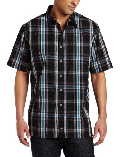 Dickies mens short sleeve window pane plaid shirt black for Dickies short sleeve plaid shirt