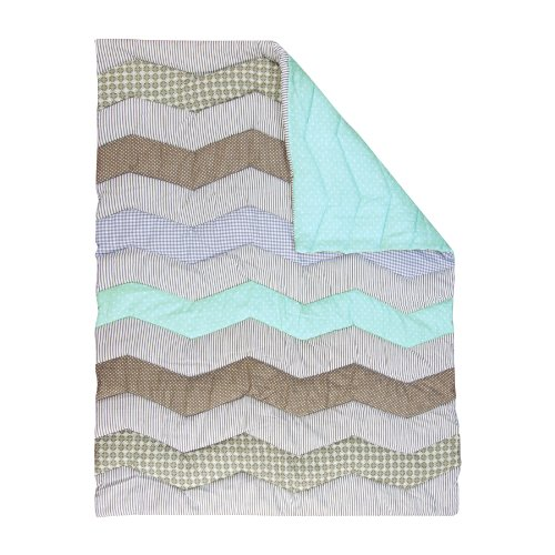 Lowest Prices! Trend Lab Cocoa Mint Chevron Crib Quilt, Mint Green, Taupe