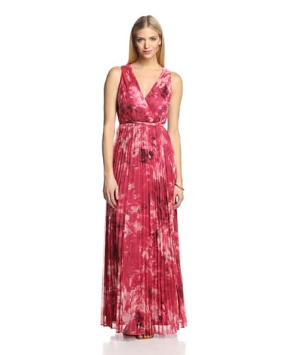 Halston Heritage Women's V-Neck Pleated Gown