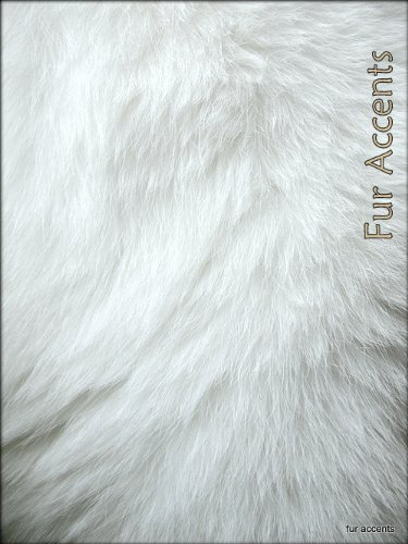 Fur Accents Shaggy White Faux Double Sheepskin Area Rug / Ultra Suede Back /2'x6'