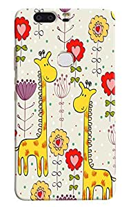 Omnam Cartoon Giraffe Pattern Printed Designer Back Cover Case For Huawei Honor V8