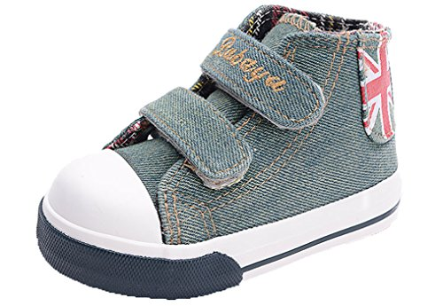 Legend E.C Baby Boys' And Girls' Lesliee Cool High Top Canvas Skateboard Sneakers Canvas Shoes With Magic Stick (Toddler Size) (4.5, Green)
