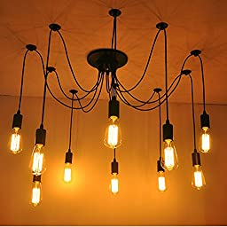 MAYERS ieGeek 10 Heads DIY Ceiling Lamp Fuloon Vintage Pendant Lights with E27 Edison Light Bulb (Not Included) Adjustable Antique Hanging Decorative Multiple Chandelier for Modern House.