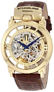 "Stuhrling Original Men's 165F.333K31 ""Classic Winchester General"" 23k Yellow Gold-Plated Stainless Steel and Leather Automatic Skeleton Watch"