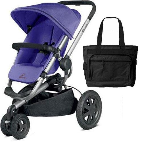 Quinny Buzz Xtra Pushchair In Purple Pace With Maxi Cosi: Quinny Buzz Xtra Stroller With Diaper Bag