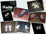 ライト等の光に当たると反射してピカッと光る 反射材を使用した「光反射靴ひも」シューレース (レッド)