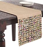 SARO LIFESTYLE H4712 1-Piece Open Weave Design Runners Oblong Tablecloth, 16 by 90-Inch, Natural