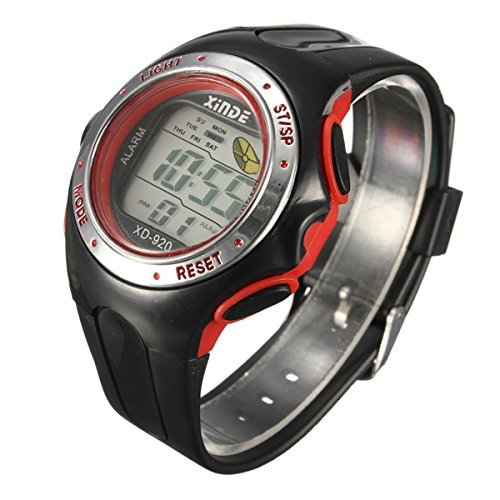 Familymall(TM) LED Digital Sport Armbanduhr Sportuhr Herren Kuelen Licht Light Wecker Datum rot