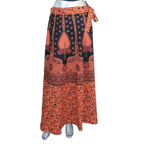 Long Wrap Cotton Skirt Block Printed Size 18